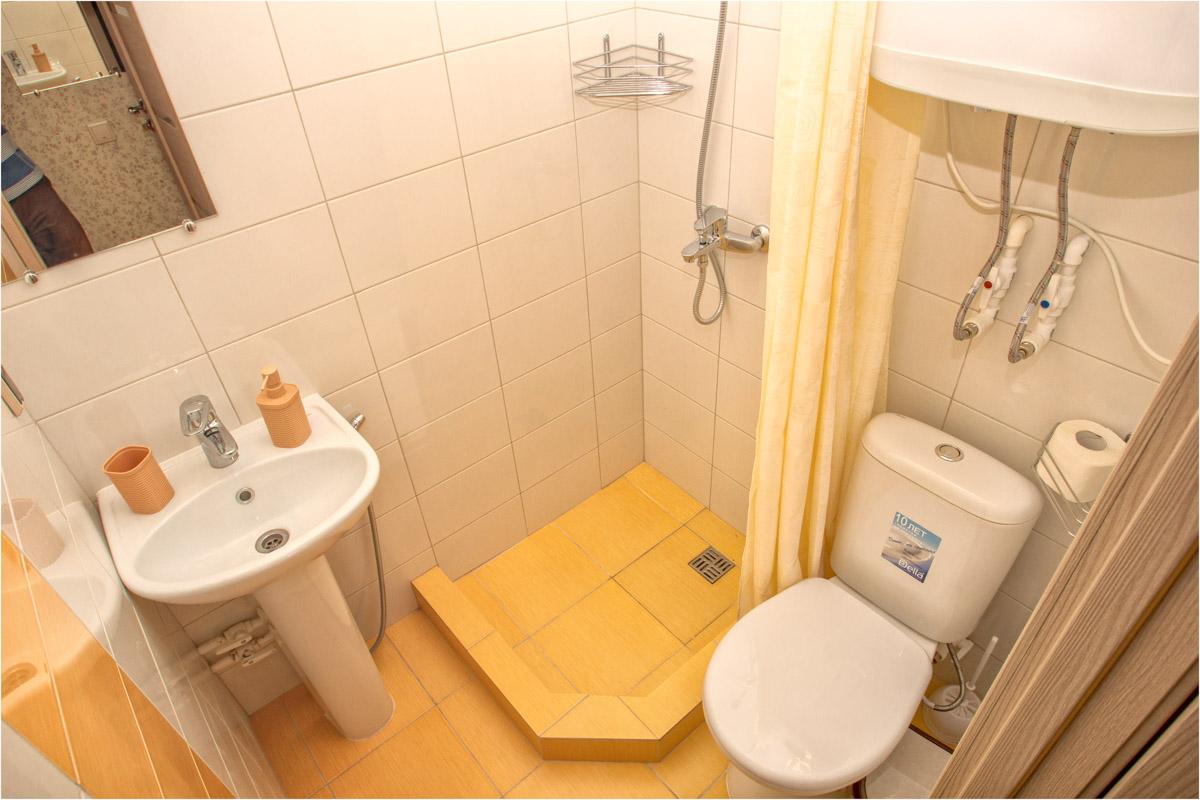Санузел с душем в двухместном номере №5